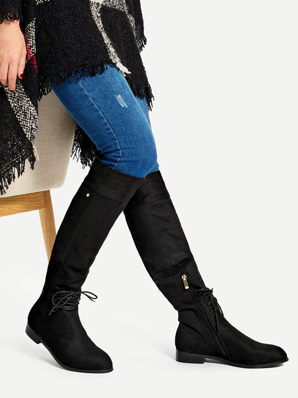 3c0ceb0ea6 Lace-up Detail Knee High Boots   SHEIN