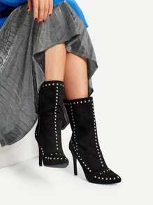 Rivet Detail Western Stiletto Heeled Boots