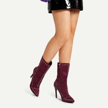 - Rivet Detail Western Stiletto Heeled Boots