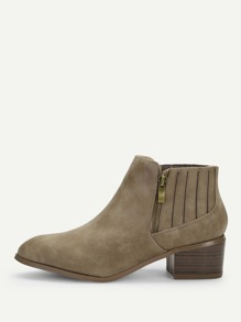 Plain Side Zipper Block Heeled Ankle Boots