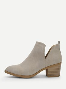 V Cut Design Faux Suede Western Ankle Boots