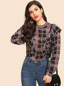 Ruffle Hem Plaid Blouse