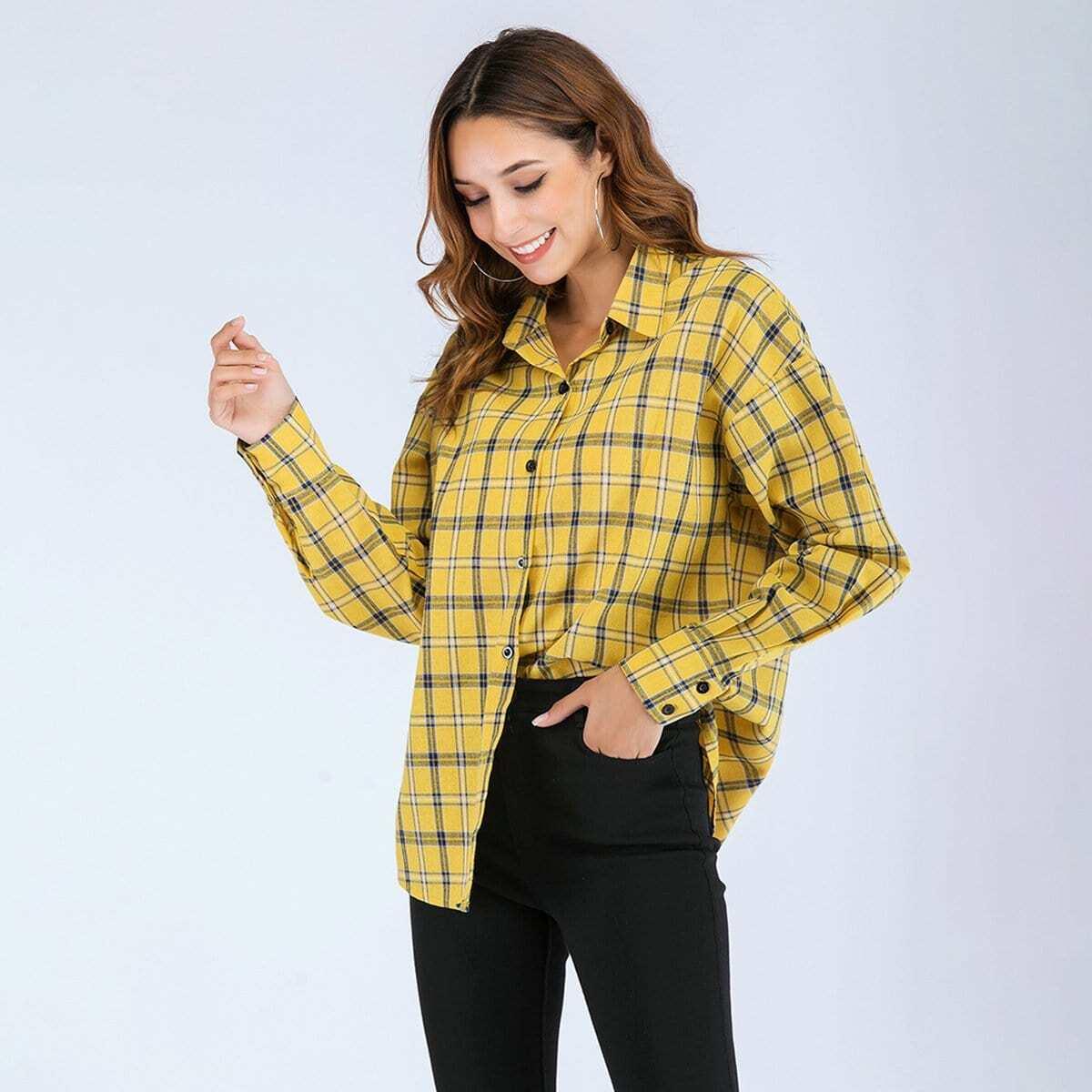 Рубашка в клетку с заниженной линией плеч