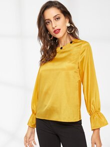 Button Decoration Flounce Sleeve Blouse