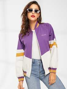 Colorblock Letter Embroidered Jacket