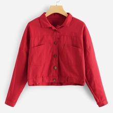 Drop Shoulder Crop Denim Jacket