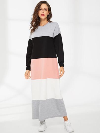d23ff1afbb SHEIN Color Block Sweatshirt Dress. Color Block Sweatshirt Dress