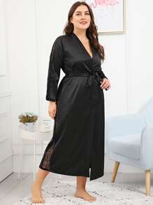 Plus Lace Insert Self Belted Longline Robe