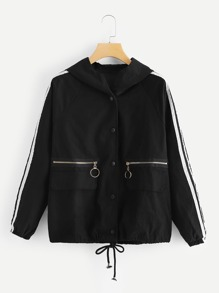Contrast Tape Side Drawstring Hem Hooded Jacket