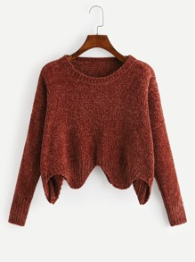 Asymmetric Hem Solid Knit Sweater