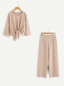 Plus Knot Front Solid Top & Pant