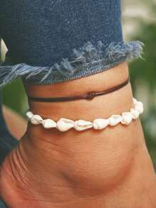 Shell Design Anklet Set 2pcs