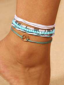 Circle Detail Beaded Anklet Set 5pcs