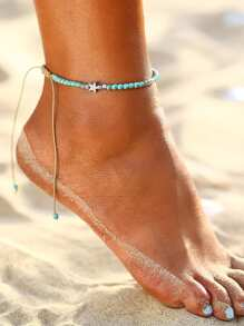 Star Detail Beaded Anklet