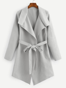 Solid Waterfall Neck Trench Coat