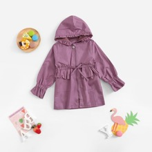 Toddler Girls Ruched & Knot Detail Solid Outerwear