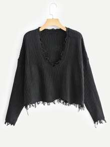 Raw Trim Drop Shoulder Sweater