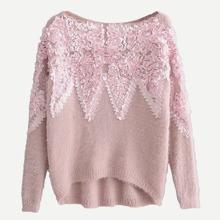 Contrast Petal High Low Sweater