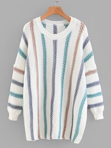 Rib Trim Striped Sweater