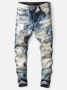 Men Patched Destroyed Jeans