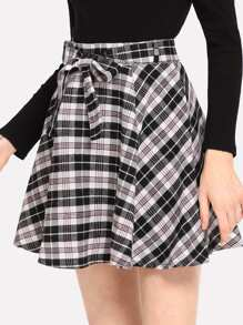Plaid Self Tie Waist Skirt