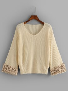 Drop Shoulder V Neck Sweater