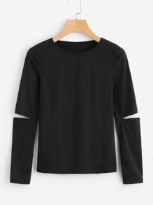 Cut-Out Sleeve Solid Tee