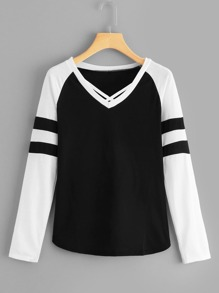 Varsity Stripe Criss-Cross Tee