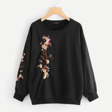 SHEIN   Plus Botanical Embroidery Sweatshirt   Goxip