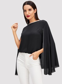 Contrast Binding Cape Blouse