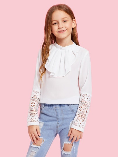 8711792b24f Girls Keyhole Back Contrast Lace Sleeve Top