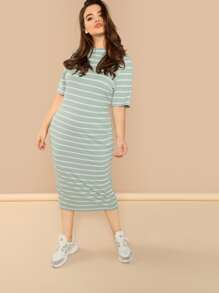 Plus Mock Neck Rib Knit Striped Dress