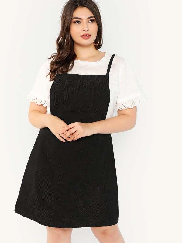 533ad70a82d Plus Bib Pocket Patched Corduroy Dress