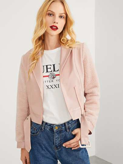 Faux Leather Zip Up Crop Jacket With Buckle Belted