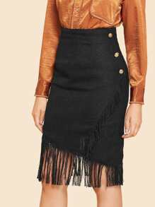 Button Side Fringe Hem Wrap Skirt