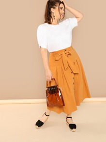 Plus Button Up Belted Skirt