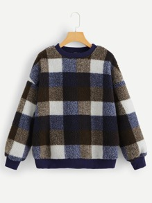 Drop Shoulder Plaid Teddy Sweatshirt