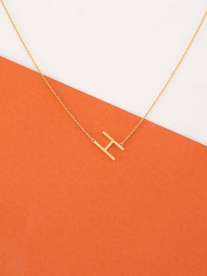 Dainty Gold Chain Letter H Pendant Necklace