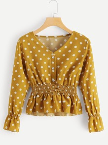 V Neck Polka Dot Blouse