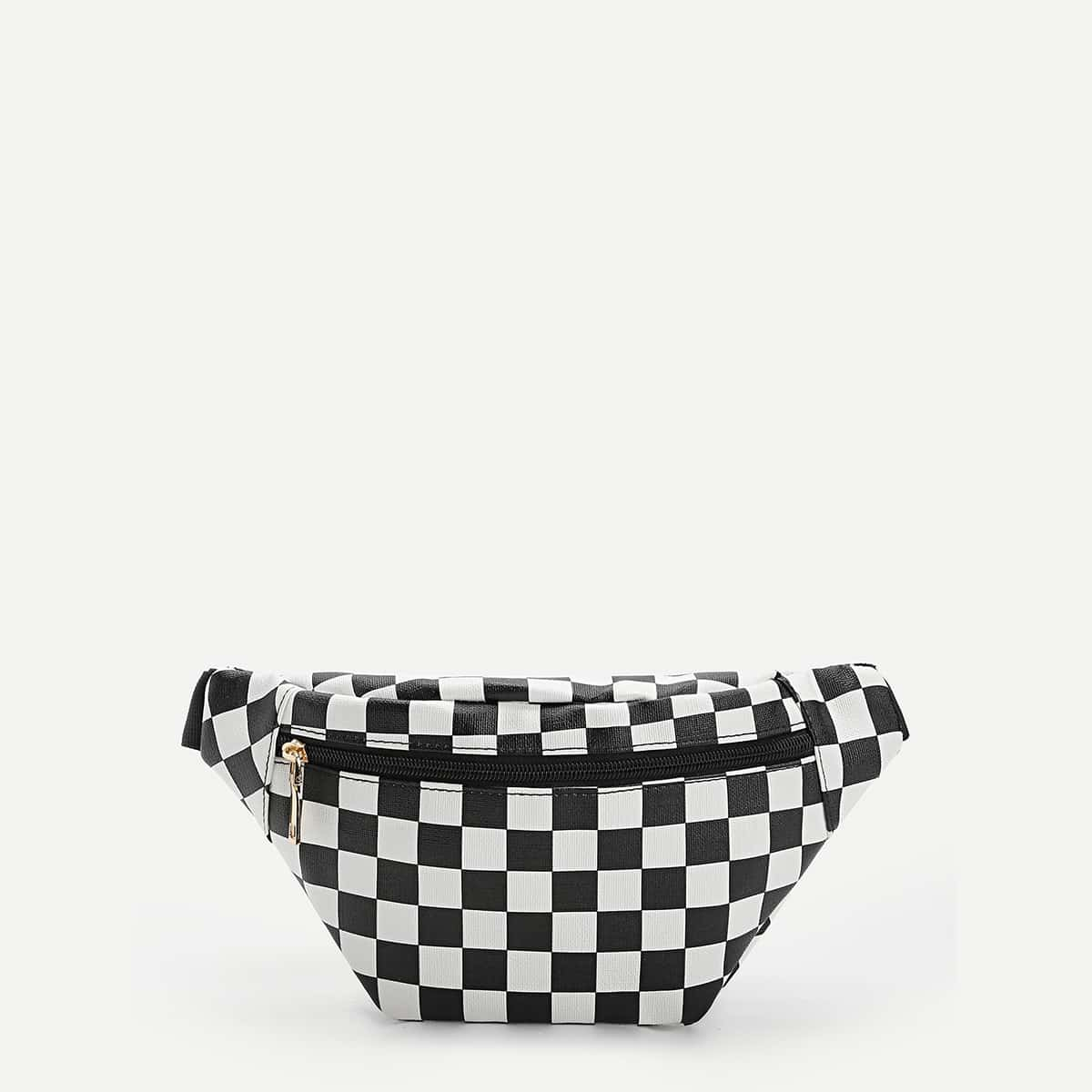 Zipper Front Gingham Fanny Pack