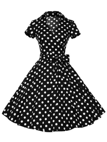 Polka Dot Belt Wrap Flare Dress