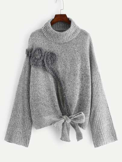74fb900b219 Plus Turtle Neck Applique Detail Knot Sweater