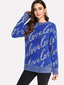 Letter Fuzzy Sweater