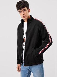 Men Zip Up Striped Trim Jacket
