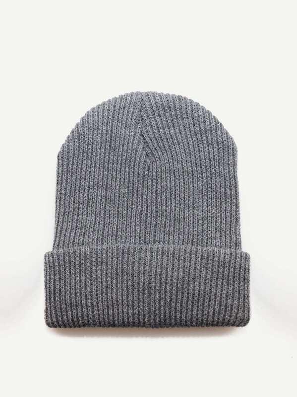 fa354ab6c5 Men Plain Beanie Hat   SHEIN UK