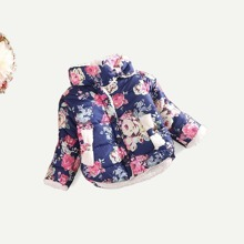 Girls Floral Print Outerwear
