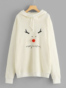 Christmas & Letter Embroidered Hoodie