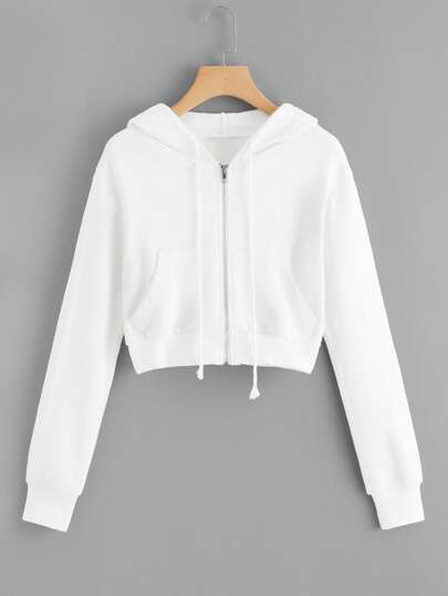 Zip Up Hooded Solid Jacket