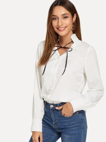 Knot Frill Neck Blouse