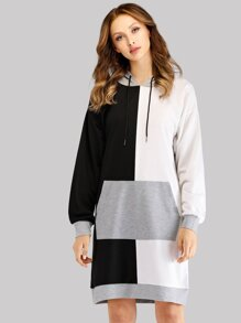 Color-Block Drawstring Hoodie Dress